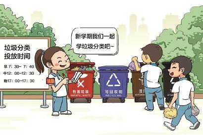 四年级同学用四格漫画表现垃圾分类环保理念;五年级同学则以小组形式图片